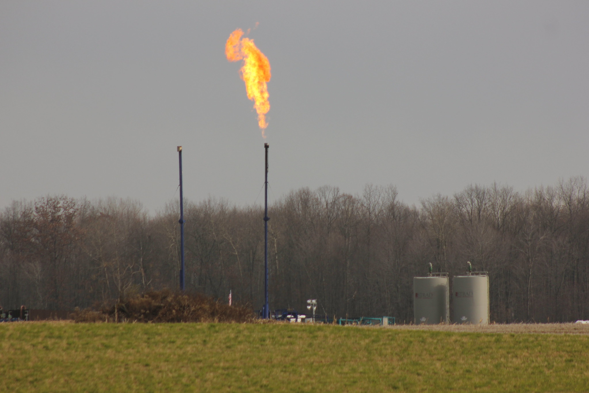 Flaring of methane gas
