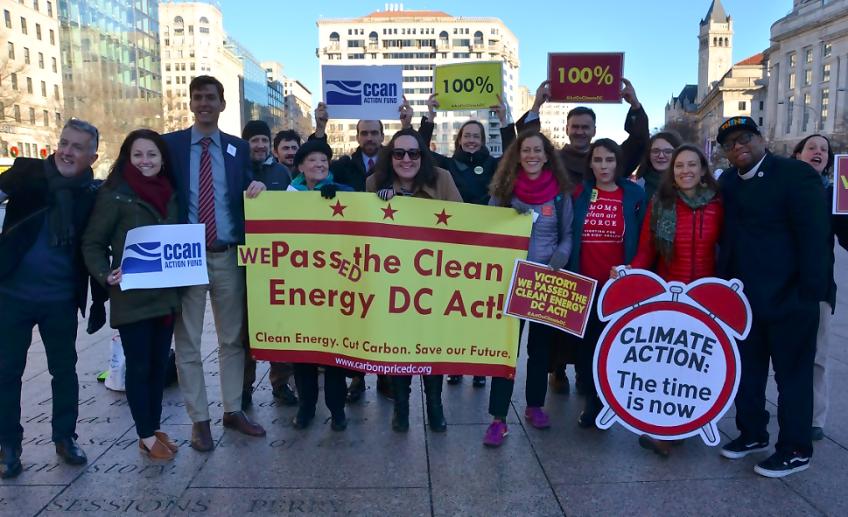Advocates celebrate the DC climate bill victory.